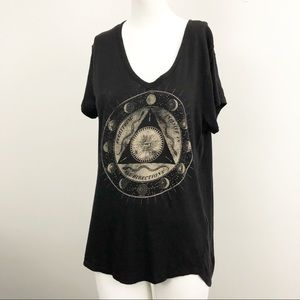 Lucky Brand Black Graphic T-Shirt - Size Large
